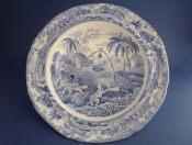 Rare Copeland Late Spode Indian Sporting Series 'Common Wolf Trap' Tart or Pudding Dish c1835